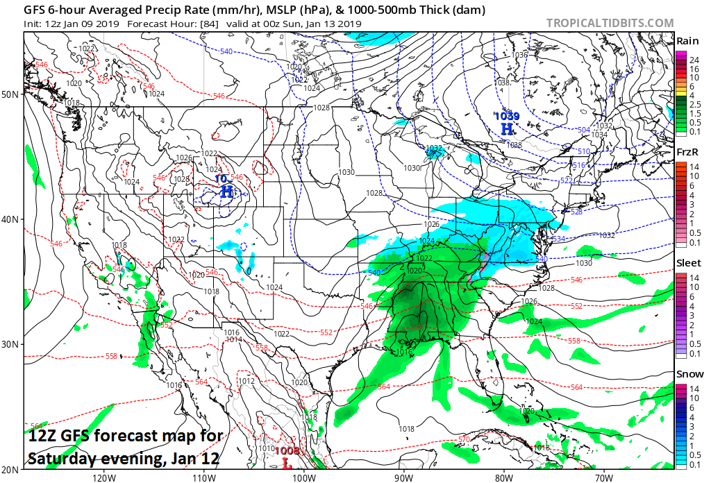 12Z GFS forecast map for Saturday evening features low pressure near the northern Gulf region; map courtesy NOAA/EMC, tropicaltidbits.com