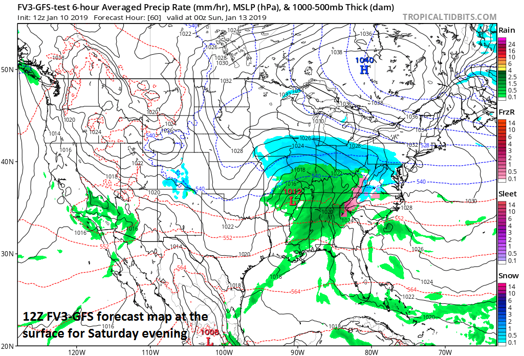 Surface forecast map for Saturday evening with snow (blue) edging eastward into the Mid-Atlantic region (12Z FV3-GFS); courtesy NOAA, tropicaltidbits.com.