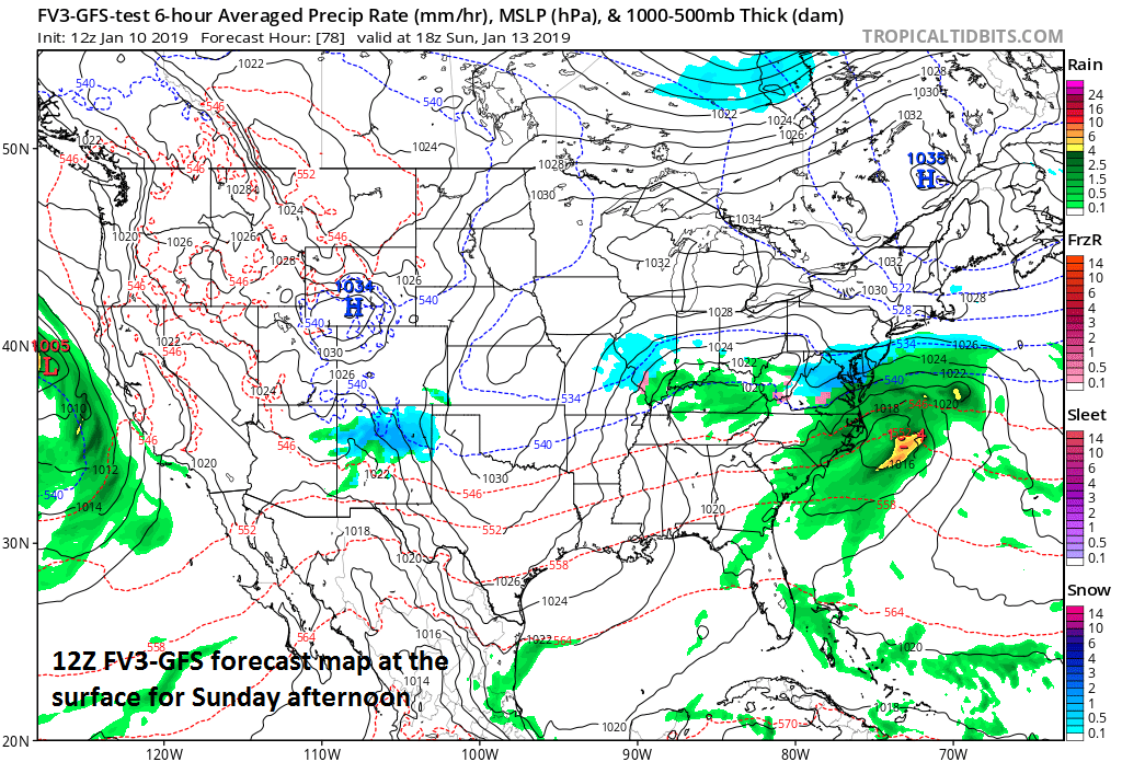 Surface forecast map for Sunday afternoon with snow (blue) generally confined to areas south of the PA/MD border (12Z FV3-GFS); courtesy NOAA, tropicaltidbits.com.