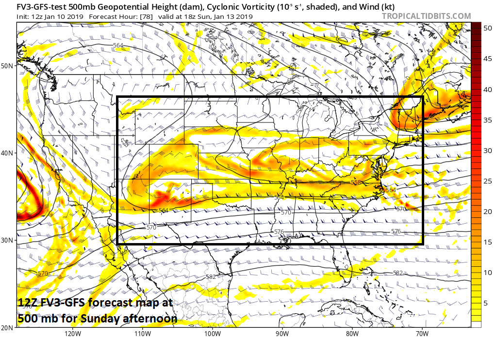 """""""Strung-out"""" upper-level energy as of Sunday afternoon (12Z FV3-GFS)"""
