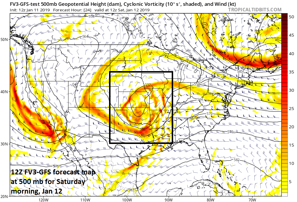 Well-defined upper-level energy on Saturday morning over the central Plains (12Z FV3-GFS forecast map); map courtesy NOAA/EMC, tropicaltidbits.com