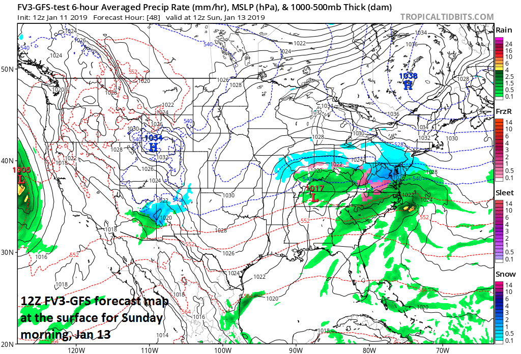 Snow in the Mid-Atlantic region early Sunday with the initial surface low pressure system over Tennessee and a secondary beginning to appear near the North Carolina coastline; map courtesy NOAA/EMC, tropicaltidbits.com