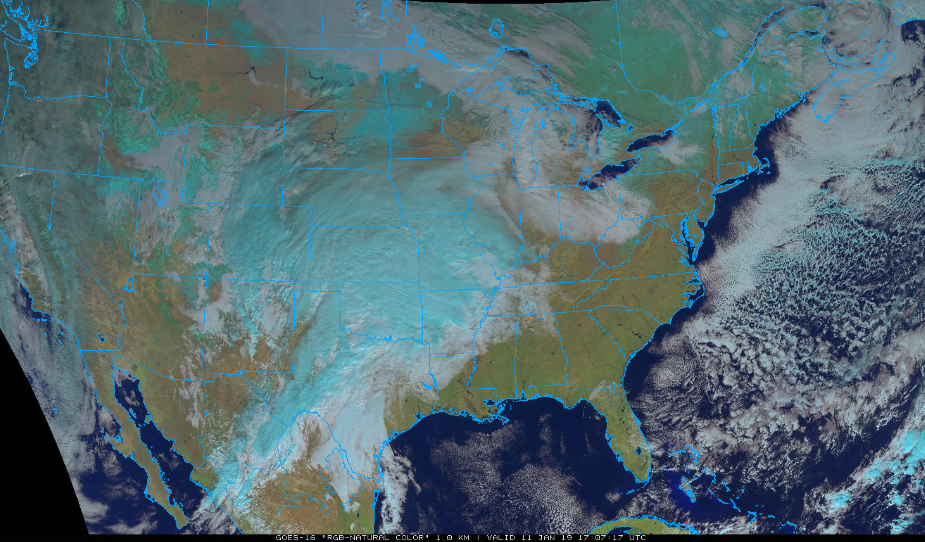 """GOES-16 """"natural color"""" satellite image at mid-day Friday featuring copious amounts of clouds in the heartland associated with developing system; courtesy NOAA/GOES, College of DuPage"""