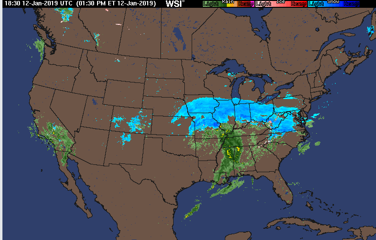 Early afternoon radar map with large swath of snow (in blue) extending from the central Plains to the Ohio Valley; courtesy WSI, Inc., NOAA