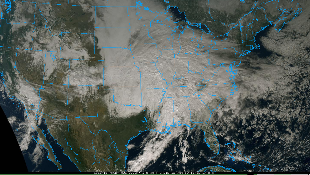 "Early afternoon ""true color"" satellite image of the gathering storm; courtesy NOAA, College of DuPage"