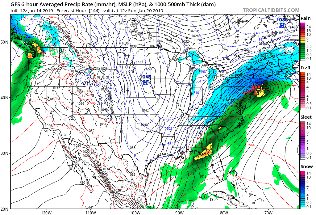 12Z GFS surface forecast map for Sunday morning, January 20th, with snow (in blue) across much of the interior Northeast US and rain (in green) along coastal regions; map courtesy NOAA/EMC, tropicaltidbits.com