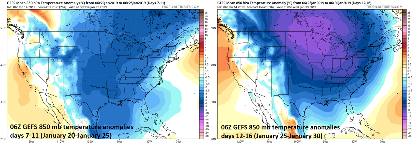 06Z GEFS forecast maps of 850 mb temperature anomalies averaged over 5-day periods with days 7-11 (left) and days 12-16 (right); courtesy NOAA/EMC, tropicaltidbits.com
