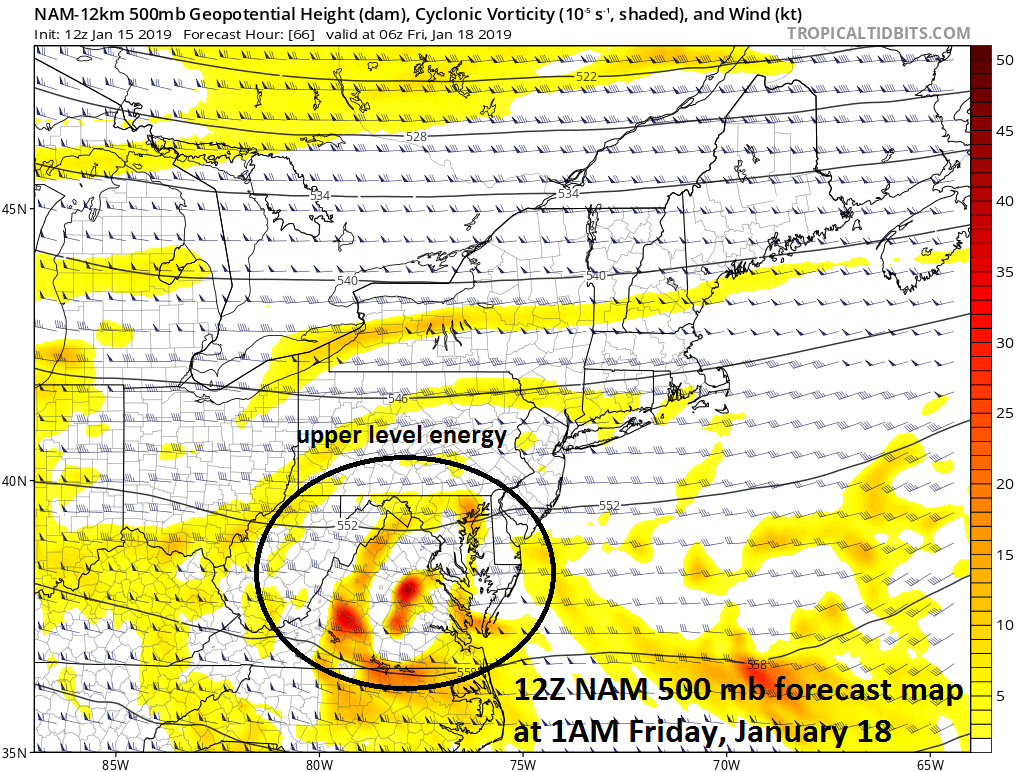 12Z NAM feature a wave of energy in the upper atmosphere early Friday which will support the surface low pressure system as it moves into the Northeast US; courtesy NOAA, tropicaltidbits.com