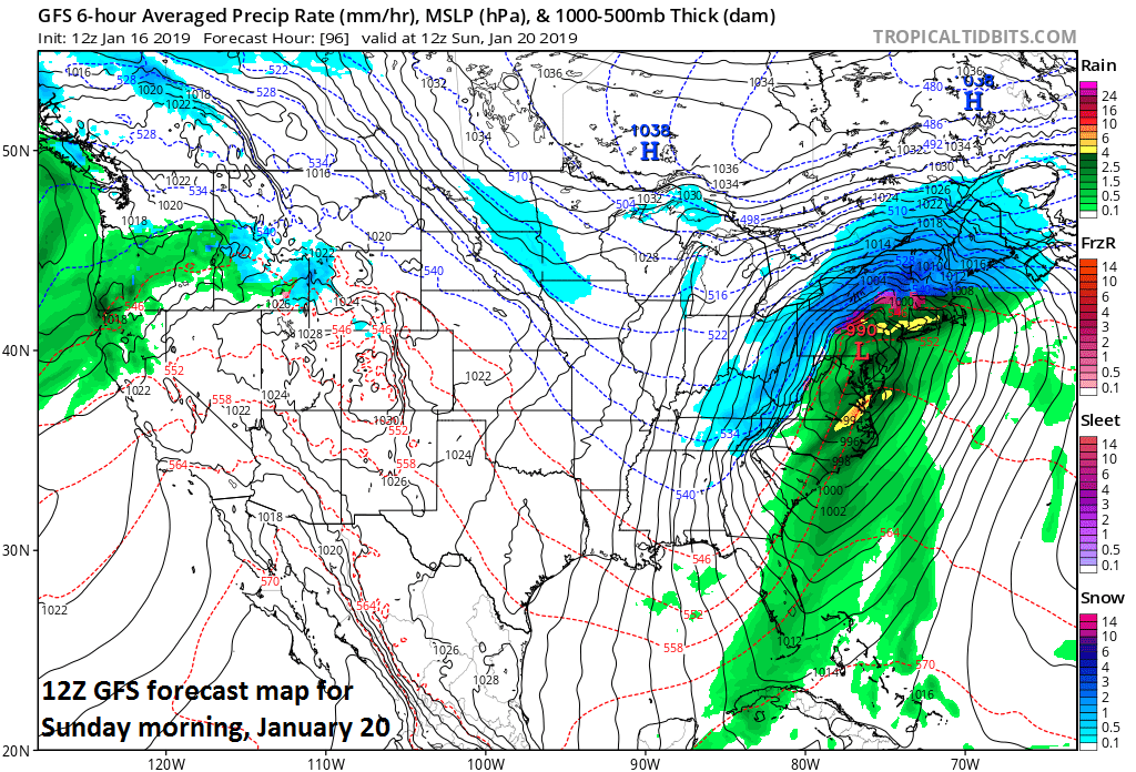 12Z GFS forecast map at the surface for Sunday morning with rain over the I-95 corridor (in green) and snow across interior sections of the Mid-Atlantic; courtesy NOAA/EMC, tropicaltidbits.com
