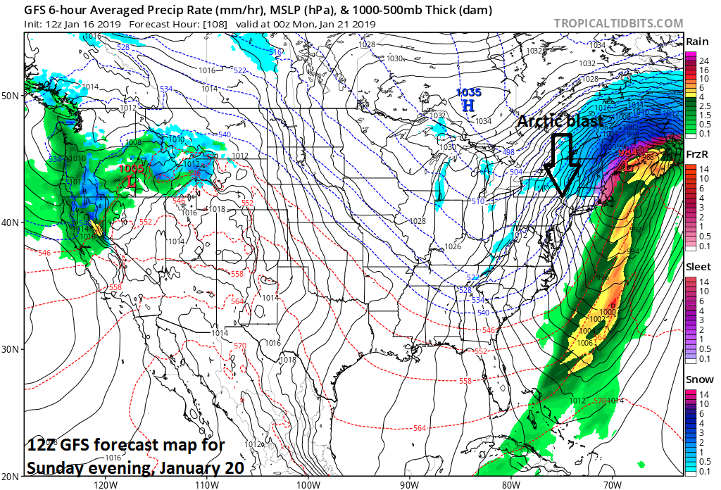 12Z GFS forecast map at the surface for Sunday evening with Arctic air pouring into the Mid-Atlantic region on the back side of the departing low pressure system; courtesy NOAA/EMC, tropicaltidbits.com