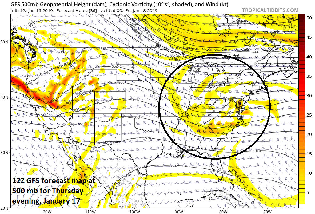 12Z GFS forecast map at 500 mb for Thursday evening with the wave of energy (circled) that will play a role in the Mid-Atlantic snow, courtesy NOAA/EMC, tropicaltidbits.com