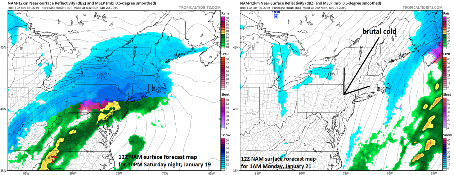 12Z NAM forecast map for late Saturday evening (left) and late Sunday night (right); courtesy NOAA, tropicaltidbits.com