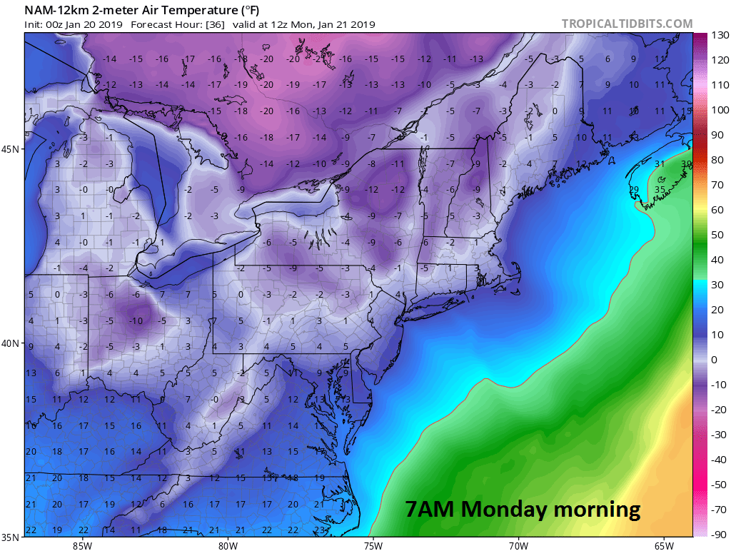 00Z NAM forecast map of surface temperatures as of Monday morning (7AM); courtesy NOAA, tropicaltidbits.com