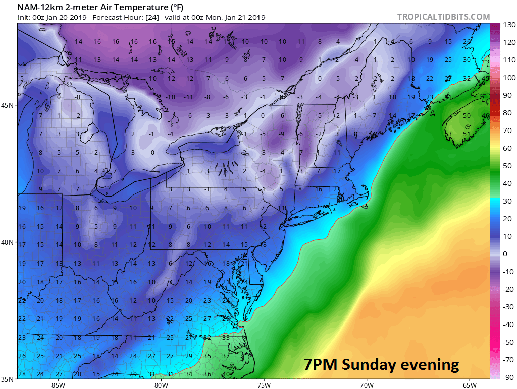 00Z NAM forecast map of surface temperatures as of Sunday evening (7 PM); courtesy NOAA, tropicaltidbits.com