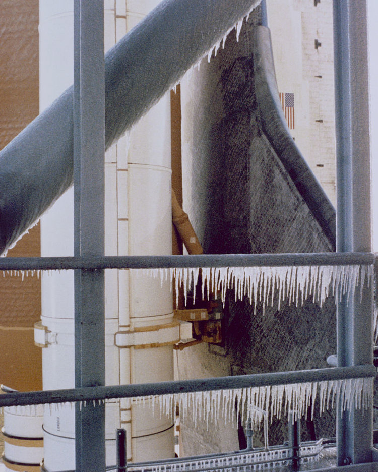 Ice on the launch tower hours before the Space Shuttle Challenger launch; courtesy Wikipedia