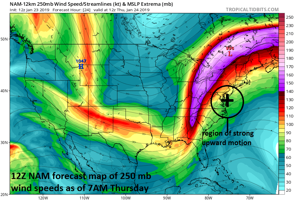 """The """"right entrance"""" region (circled) of an intense upper-level jet streak is favorable for strong upward motion which will contribute to strong wind gusts at the surface and heavy rainfall; courtesy NOAA, tropicaltidbits.com"""