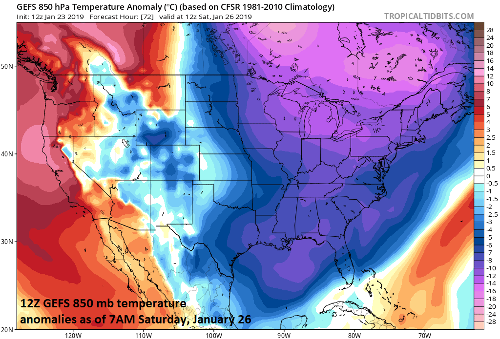 Brutal cold later this week will feature its coldest core (relative-to-normal) over the south-central and southeastern parts of Canada; courtesy NOAA, tropicaltidbits.com