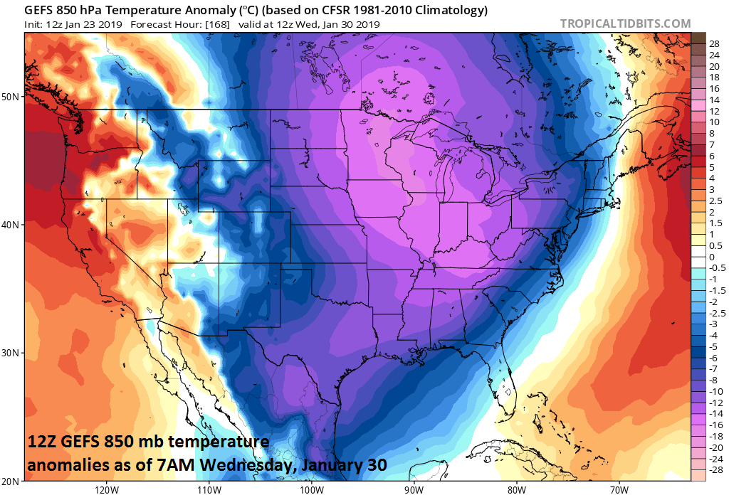 Brutal cold next week will feature its coldest core (relative-to-normal) over the Northern Plains/Upper Midwest/Great Lakes; courtesy NOAA, tropicaltidbits.com
