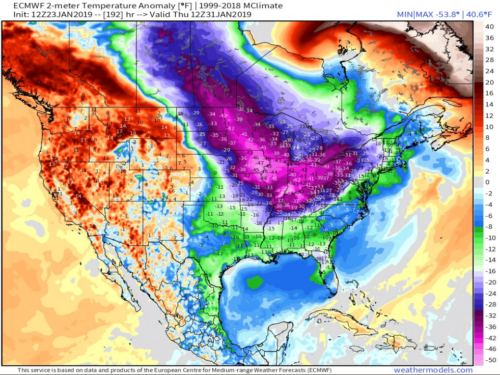 12Z Euro 2-meter temperature anomalies look downright dangerous by Thursday of next week; map courtesy weathermodels.com (Dr. Ryan Maue), ECMWF