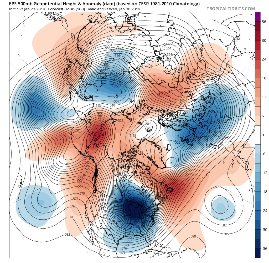 12Z EPS forecast map of 500 mb height anomalies by the middle of next week with a very deep upper-level low centered over the Great Lakes; courtesy ECMWF, tropicaltidbits.com
