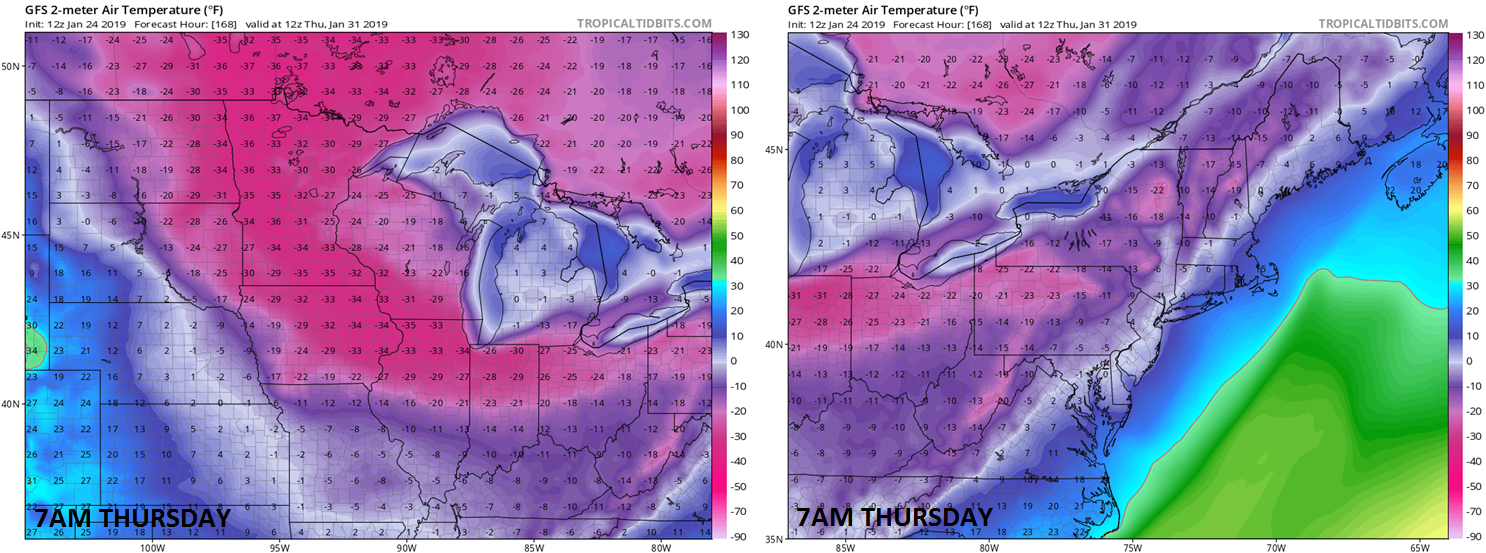 Incredible  actual  2-meter temperatures for next Thursday morning at 7AM as depicted by the 12Z GFS model run for the Northern Plains/Upper Midwest (left), Northeast US (right); courtesy NOAA, tropicaltidbits.com