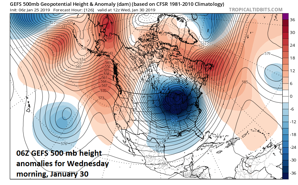 A deep upper-level low drops to a position over the Great Lakes region by the middle of next week resulting in a brutally cold air mass for much of the central and eastern US; courtesy NOAA, tropicaltidbits.com