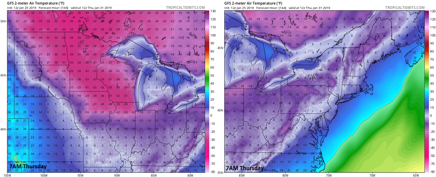 Some incredible  actual  2-meter temperatures for next Thursday morning at 7AM as depicted by the 12Z GFS model run [Northern Plains/Upper Midwest (left), Northeast US (right)]; courtesy NOAA, tropicaltidbits.com
