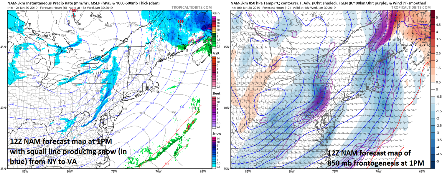 "12Z NAM surface forecast map (left) and of 850 mb ""frontogenesis"" (right) as of 1PM this afternoon, ; courtesy NOAA/EMC, tropicaltidbits.com"