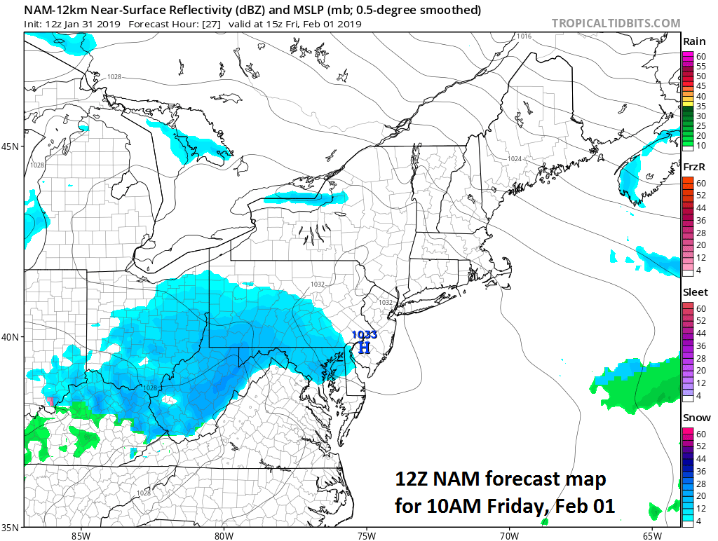 A bit of snow on Friday in the Mid-Atlantic region as depicted by the 12Z NAM (at 10am); courtesy NOAA/EMC, tropicaltidbits.com