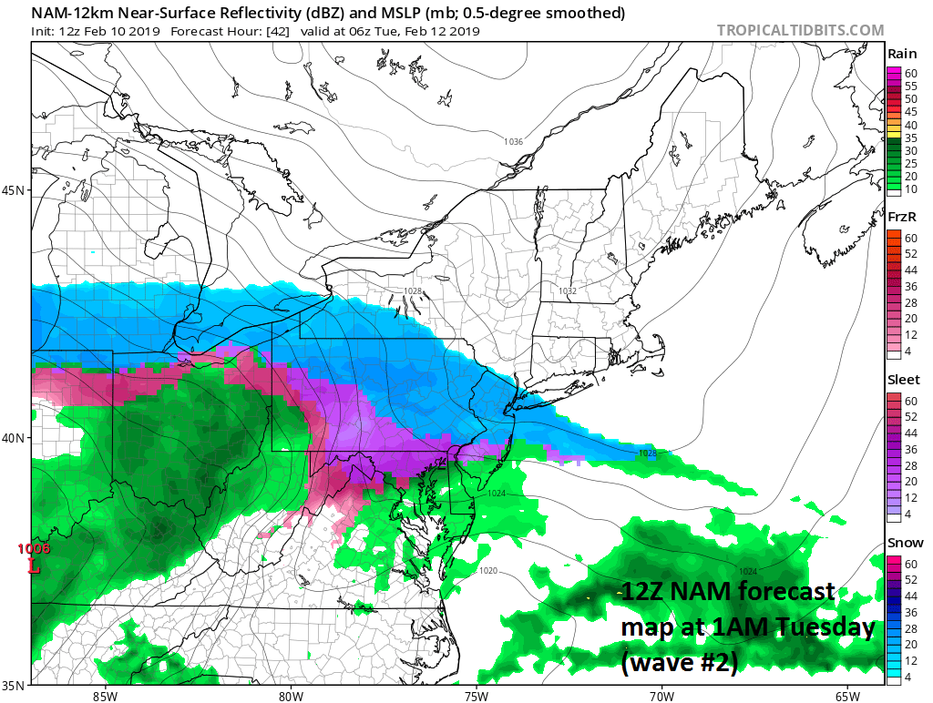 Surface forecast map for late tomorrow night with mainly snow (blue) north of the PA/MD border and ice (purple/pink) to the south of there; courtesy NOAA/EMC, tropicaltidbits.com