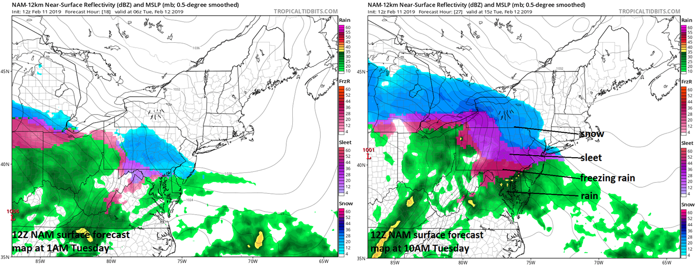 12Z NAM forecast maps for 1AM Tuesday (left) and 10AM Tuesday (right)…when you see lots of colors this time of year, you can be sure ice is involved. Maps courtesy NOAA, tropicaltidbits.com