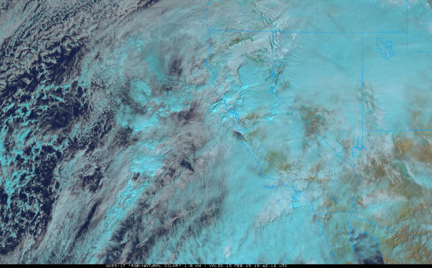 GOES-17 satellite image of the western US/eastern Pacific region featuring clouds associated with the latest storm to slam into California; courtesy NOAA, College of DuPage