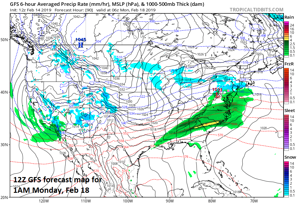 Weak low pressure may impact the Mid-Atlantic region on Sunday night with rain or snow; map courtesy NOAA, tropicaltidbits.com