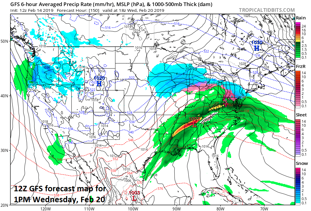 Low pressure may pull out of the southern states next week and impact the Mid-Atlantic region by late Tuesday night or Wednesday; courtesy NOAA, tropicaltidbits.com