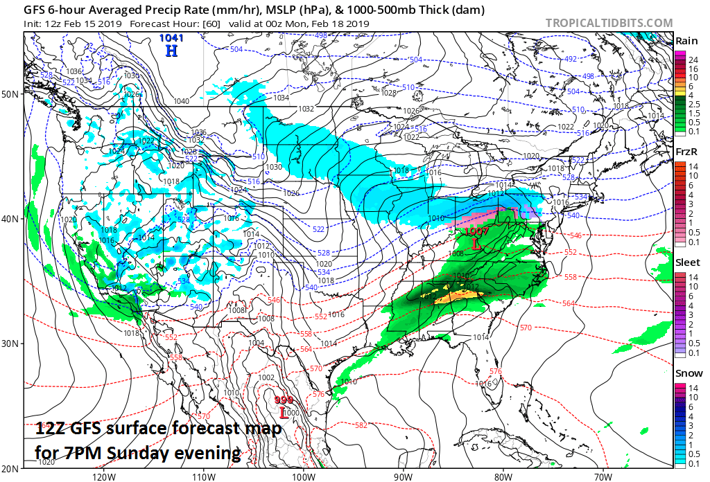 A light wintry precipitation event is probable on Sunday night in the Mid-Atlantic region with snow showers likely north of the PA/MD border and a mix of rain and snow showers to the south of there. Map courtesy NOAA/EMC, tropicaltidbits.com