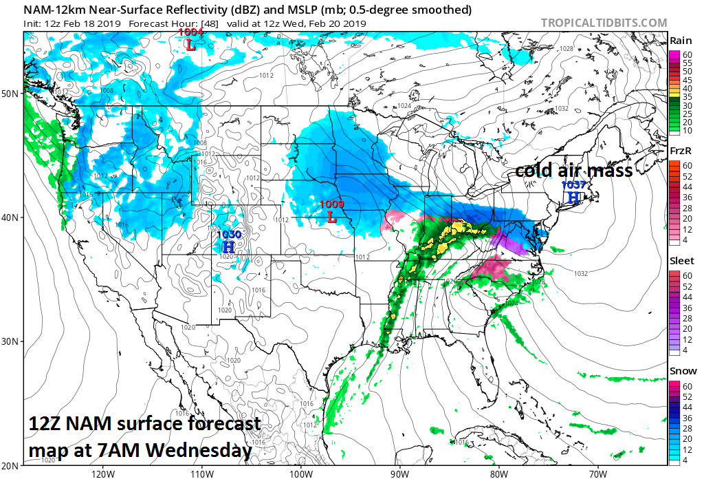 12Z NAM surface forecast map for 7AM Wednesday with strong high pressure situated over New England anchoring in a low-level cold air mass for the beginning of this event; courtesy NOAA/EMC, tropicaltidbits.com