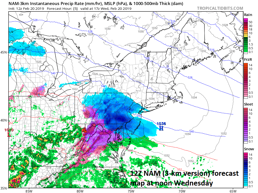 12Z NAM forecast map at noon with moderate-to-heavy snow across SE PA and a wintry mix in the DC metro region; courtesy NOAA, tropicaltidbits.com