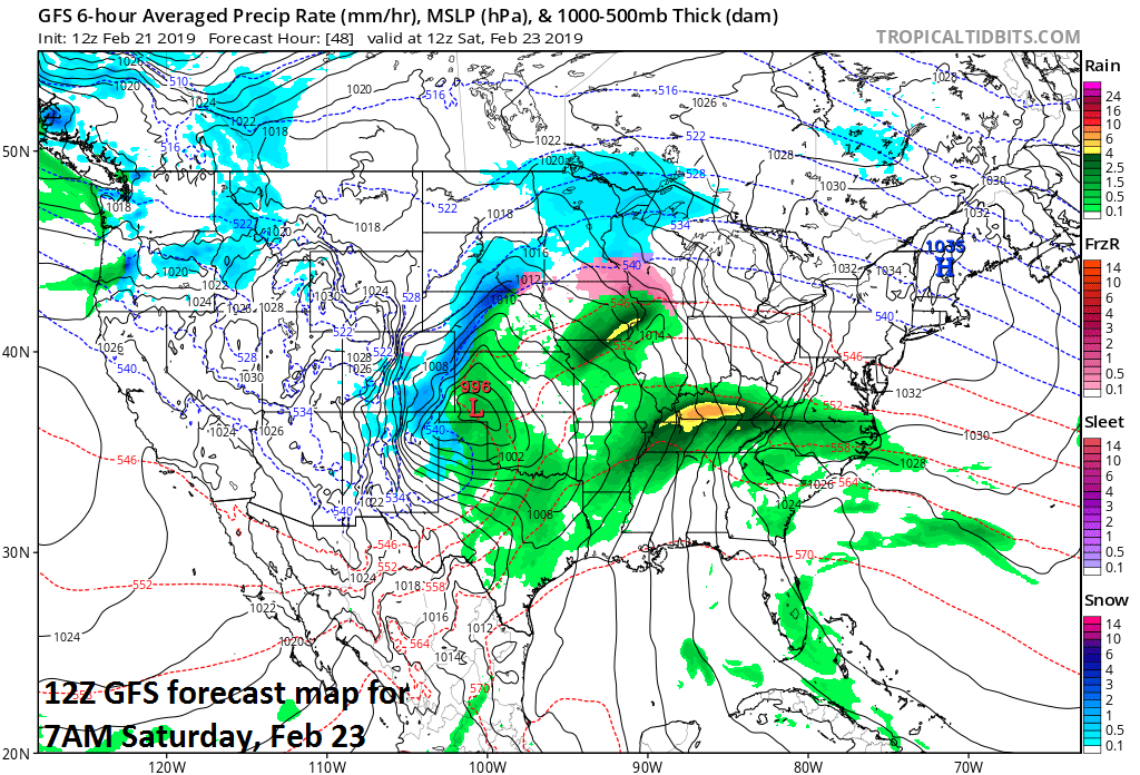 A storm on Saturday morning situated over the southern Plains will intensify rapidly on its way to the Great Lakes; map courtesy NOAA/EMC, tropicaltidbits.com