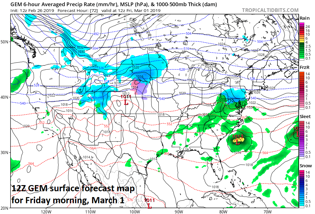 As the month of March begins on Friday there will be a threat of snow in parts of the Mid-Atlantic; courtesy NOAA/EMC, tropicaltidbits.com