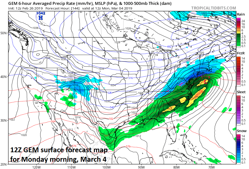 Another threat of snow for the Mid-Atlantic region exists for late Sunday night/early Monday; courtesy NOAA/EMC, tropicaltidbits.com