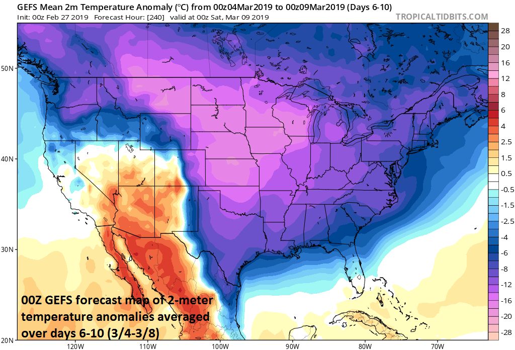 The first full work week of March promises to be much colder-than-normal across a large part of the nation; map courtesy NOAA/EMC, tropicaltidbits.com