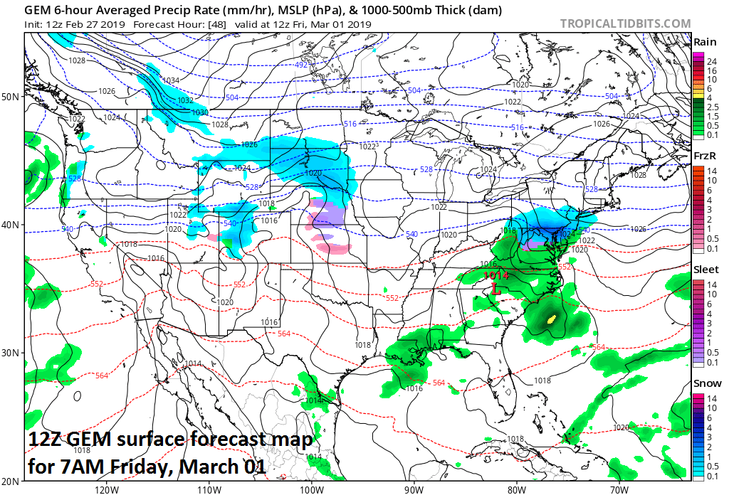 12Z GEM forecast map for Friday morning features low pressure in the Southeastern US and snow (in blue) in much of the Mid-Atlantic; map courtesy CMC, tropicaltidbits.com