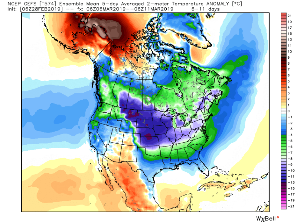 Next week promises to be quite a bit colder-than-normal across a large part of the nation; map courtesy Weather Bell Analytics, NOAA