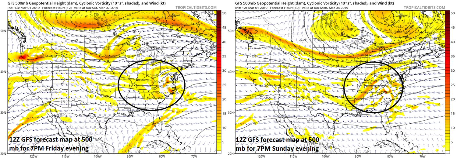 Upper-level energy (circled regions) will play a key role in the development of tonight's storm (left) along the Mid-Atlantic coastline and also the late weekend system (right) that will feature significant precipitation amounts; maps courtesy NOAA/EMC, tropicaltidbits.com