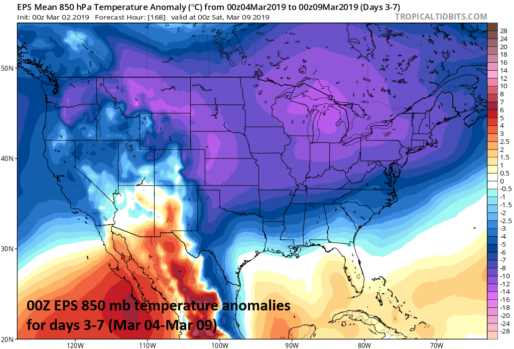 Arctic cold will grip the nation for the first full week of March; courtesy ECMWF, tropicaltidbits.com