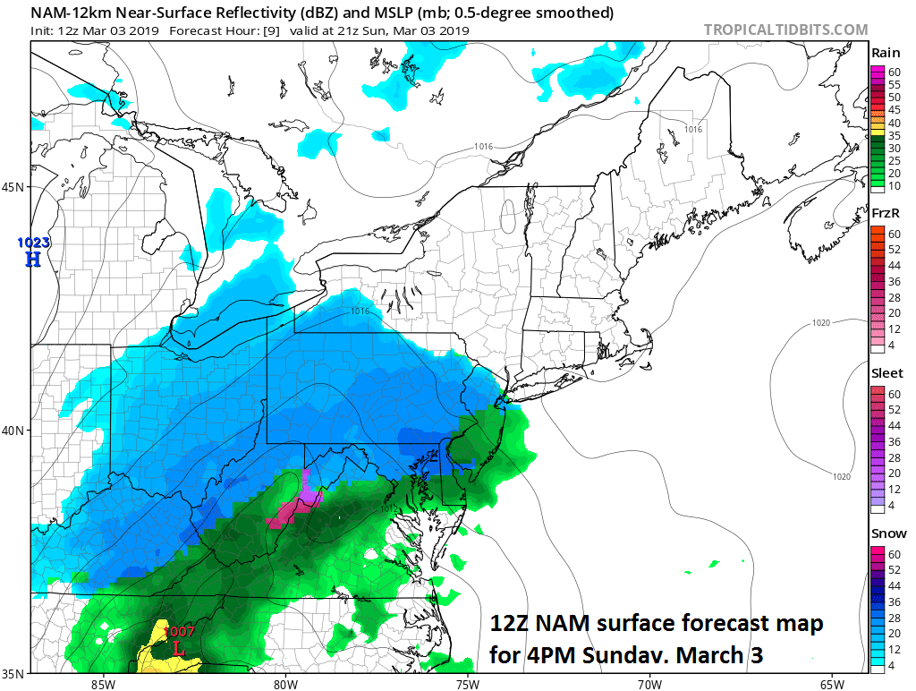 12Z NAM surface forecast map with snow in blue, rain in green/yellow; courtesy NOAA/EMC, tropicaltidbits.com