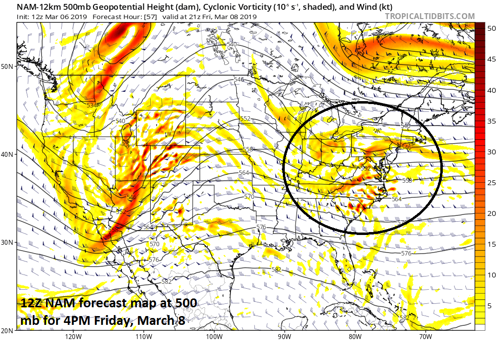 Low pressure in the Mid-Atlantic region will be aided by a wave of energy in the upper atmosphere (circled region); map courtesy NOAA/EMC, tropicaltidbits.com