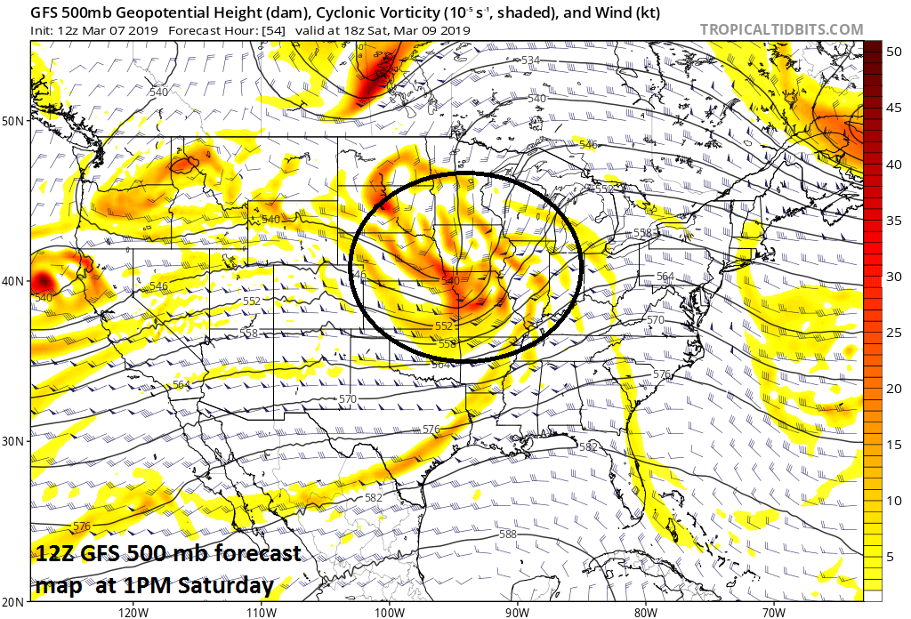 Vigorous energy in the upper atmosphere on Saturday will likely support a severe weather outbreak in the Lower-to-Mid Mississippi Valley; courtesy NOAA/EMC, tropicaltidbits.com