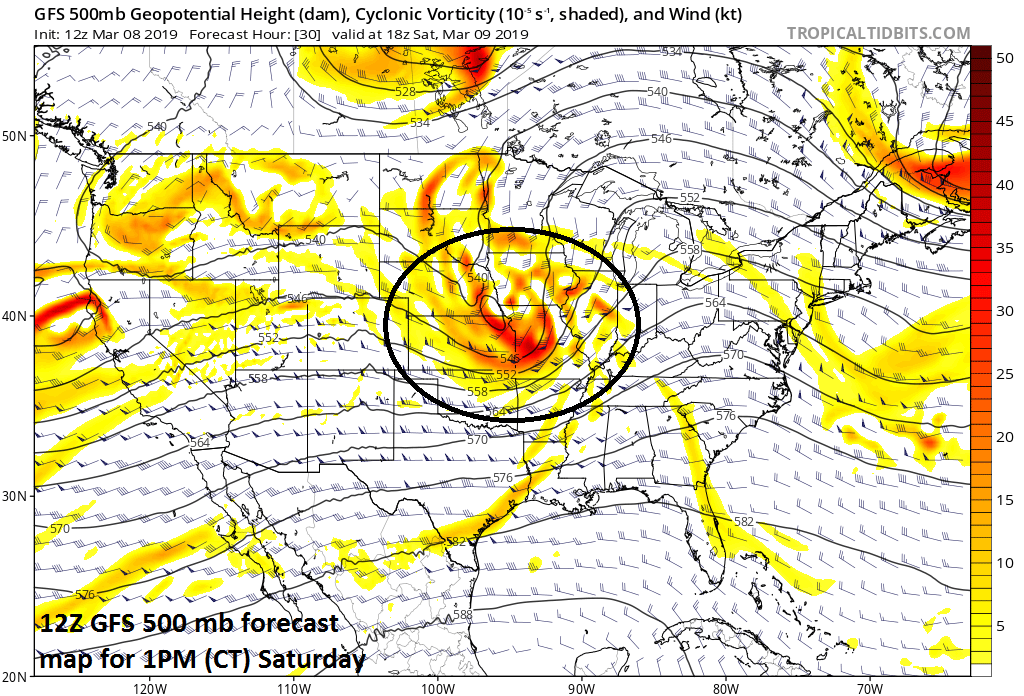 Strong upper motion associated with a wave of energy in the upper atmosphere raises the prospects for severe weather; courtesy NOAA/EMC, tropicaltidbits.com