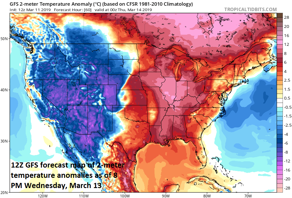 The warm sector of this mid-week storm will feature much warmer-than-normal conditions and potential severe weather while the cold sector will feature heavy snowfall and colder-than-normal weather; courtesy NOAA/EMC, tropicaltidbits.com